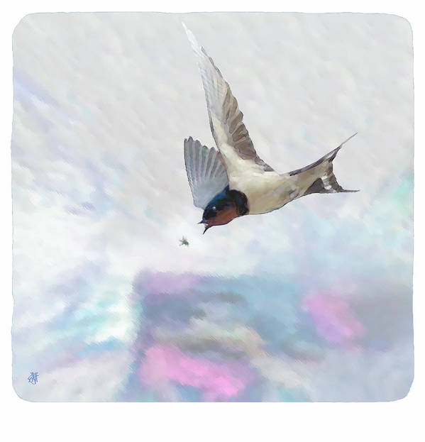 Swallow Art Print featuring the digital art Encounter by John Helgeson