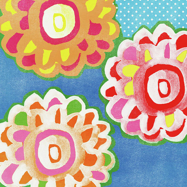 Flowers Art Print featuring the mixed media Fiesta Floral 3- Art by Linda Woods by Linda Woods