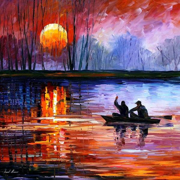 Seascape Art Print featuring the painting Fishing On The Lake by Leonid Afremov