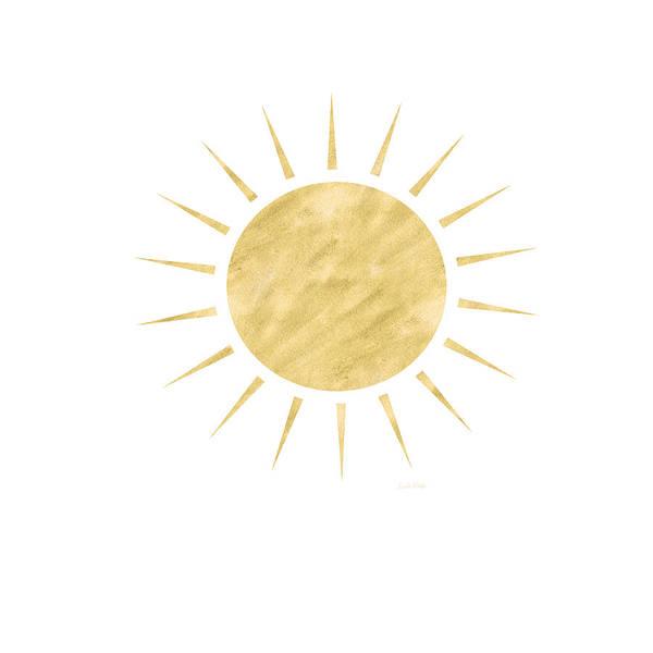 Sun Art Print featuring the mixed media Gold Sun- Art by Linda Woods by Linda Woods