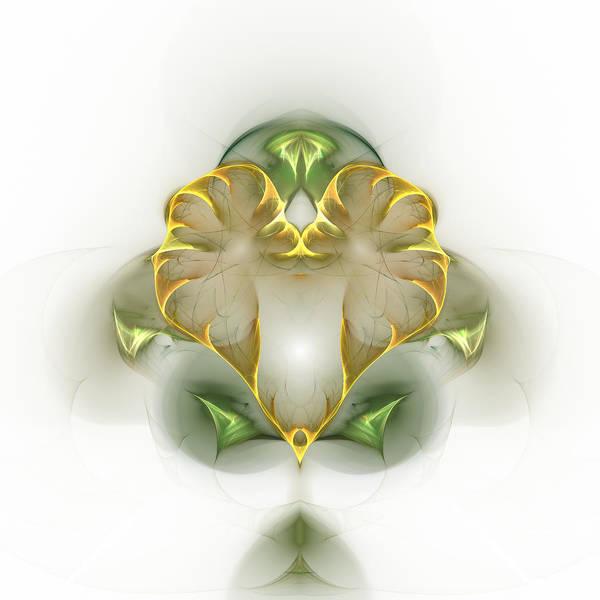 Fractal Art Print featuring the digital art Golden Heart by Richard Ortolano