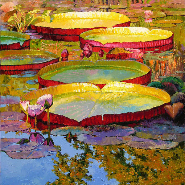 Sunlight Art Print featuring the painting Golden Light on Pond by John Lautermilch