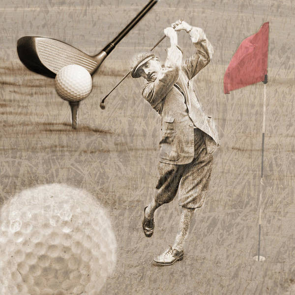 Golf Art Print featuring the photograph Golf Red Flag Vintage Photo Collage by Karla Beatty