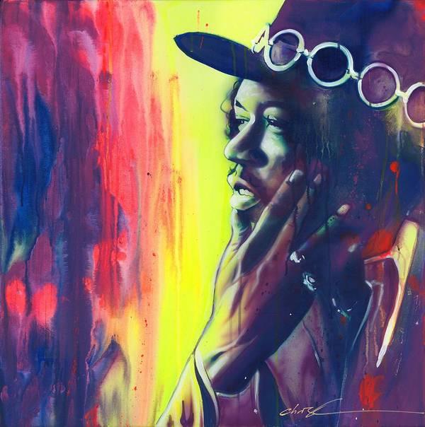Jimi Hendrix Art Print featuring the painting Gyspy Sun and Rainbows by Christian Chapman Art