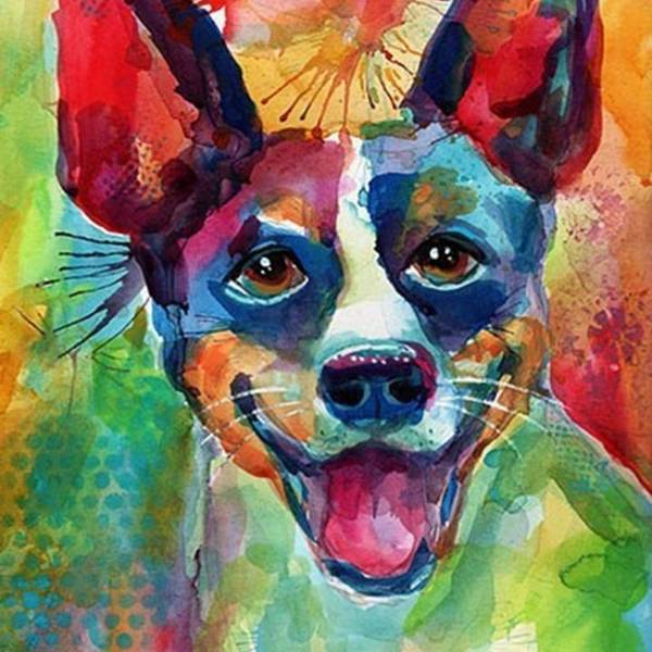 Custompetportrait Art Print featuring the photograph Happy Rat Terrier Watercolor Portrait by Svetlana Novikova