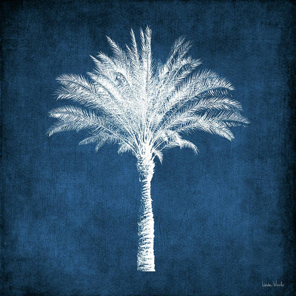 Palm Tree Art Print featuring the mixed media Indigo and White Palm Tree- Art by Linda Woods by Linda Woods
