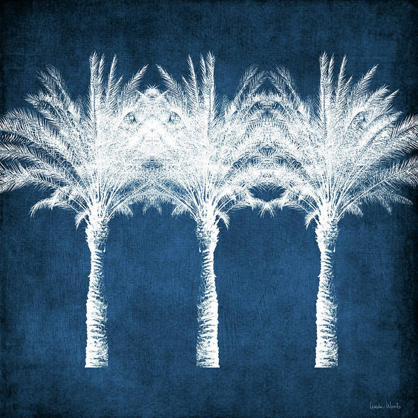 Palm Tree Art Print featuring the mixed media Indigo And White Palm Trees- Art by Linda Woods by Linda Woods