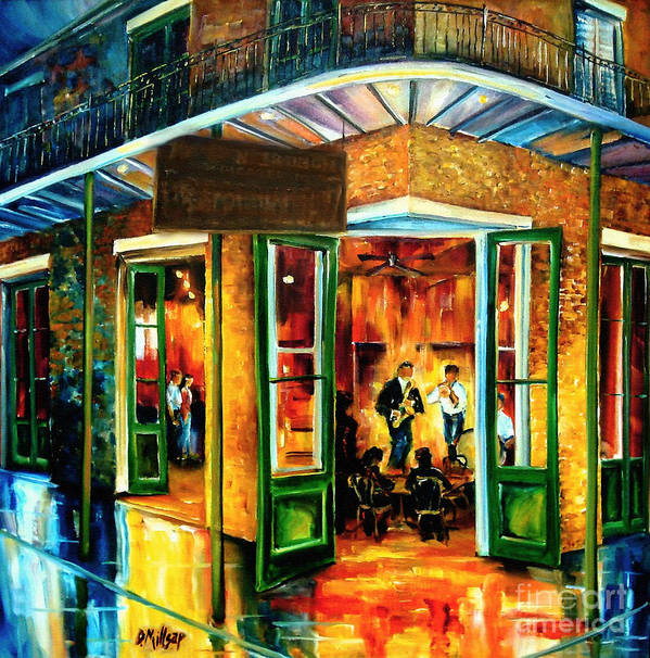 New Orleans Art Print featuring the painting Jazz at the Maison Bourbon by Diane Millsap