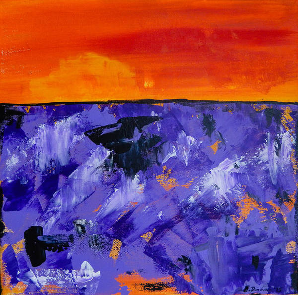 Lavender Art Print featuring the painting Lavender Sunset Abstract Landscape by Eliza Donovan