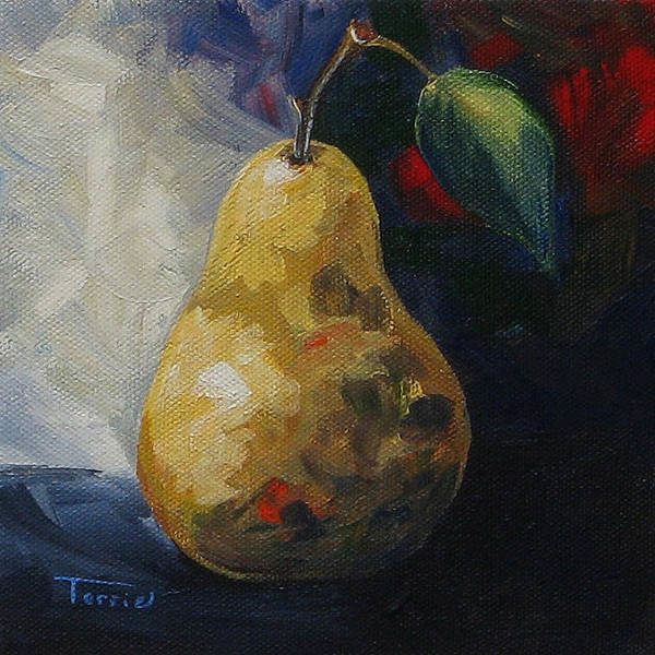 Pear Art Print featuring the painting Leftover Pear by Torrie Smiley