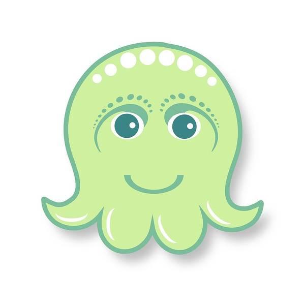 Little Octopus Art Print featuring the digital art Little cute green octopus by Ainnion
