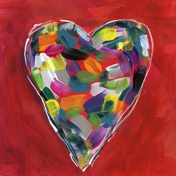 Heart Art Print featuring the painting Love Is Colorful - Art by Linda Woods by Linda Woods