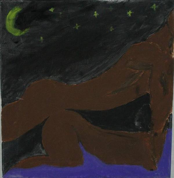 Love Art Print featuring the painting Love under the Stars by Sonye Locksmith