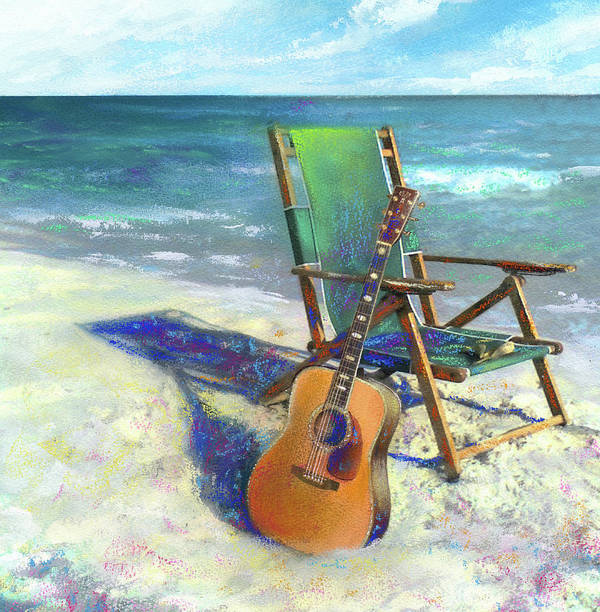 Guitar Art Print featuring the painting Martin Goes to the Beach by Andrew King