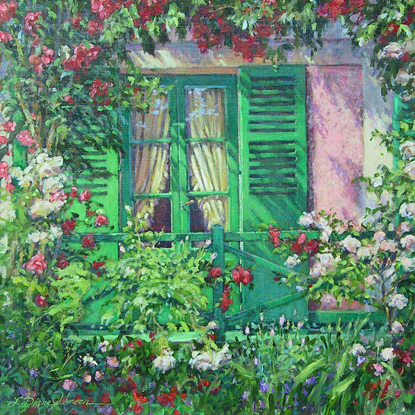 Monets House In Giverny France Art Print featuring the painting Monet's Window by L Diane Johnson