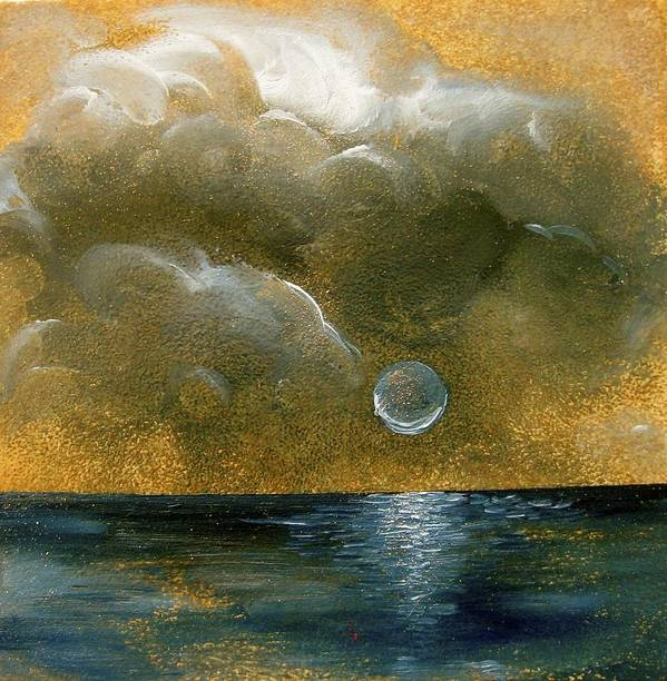 Moon Art Print featuring the painting Moon Scape by Karen Doyle