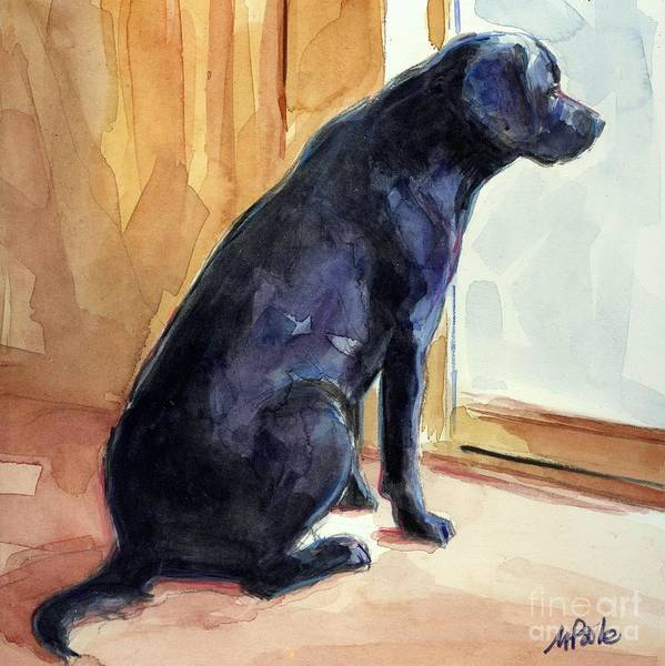 Labrador Retriever Art Print featuring the painting Morgan's View by Molly Poole