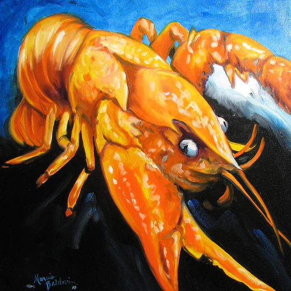 Louisiana Art Print featuring the painting Mudbug Madness by Marcia Baldwin