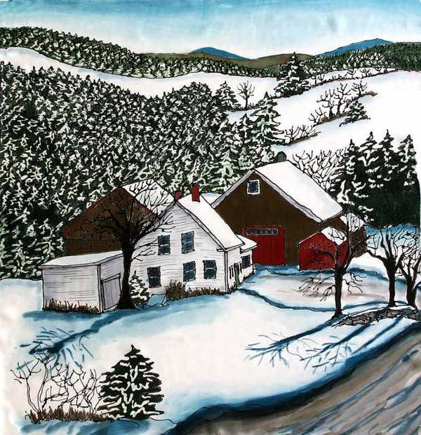 Farm Art Print featuring the tapestry - textile Old Hutchinson Place by Linda Marcille