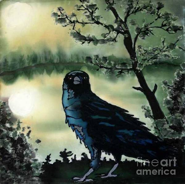 Raven Art Print featuring the painting Omen of Change by Linda Marcille