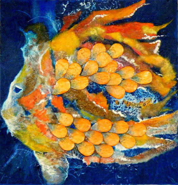 Mixed Media Art Print featuring the painting One Fish by Tara Milliken