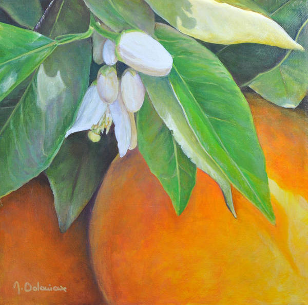 Acrylic Painting Art Print featuring the painting Oranges et Fleurs by Muriel Dolemieux
