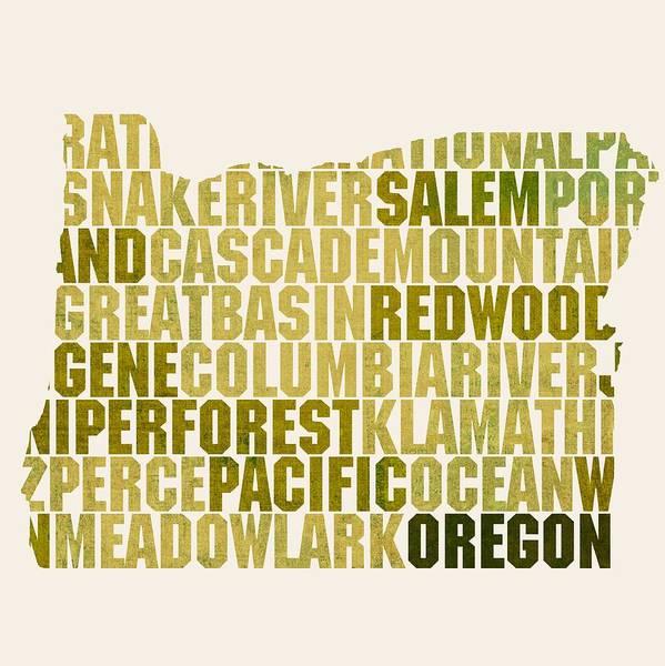 Oregon State Map Shape and Flag Design Business Card Holder