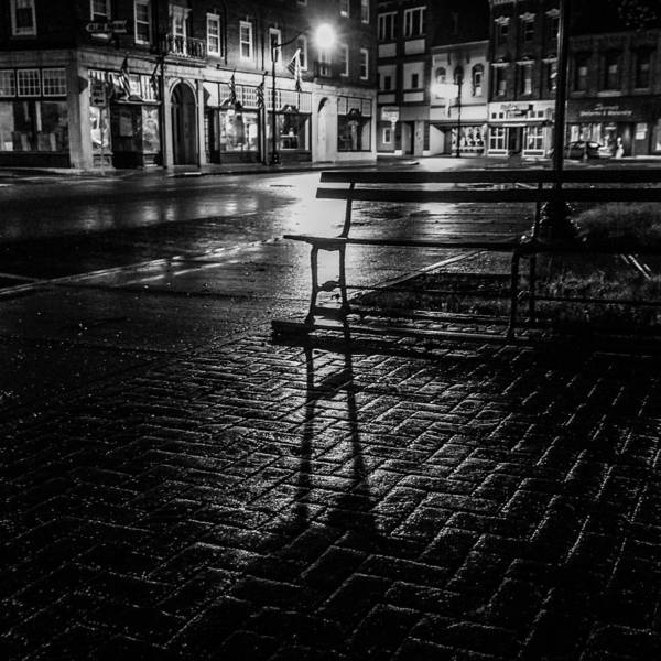 Art Print featuring the photograph Park bench on a rainy night by Kendall McKernon