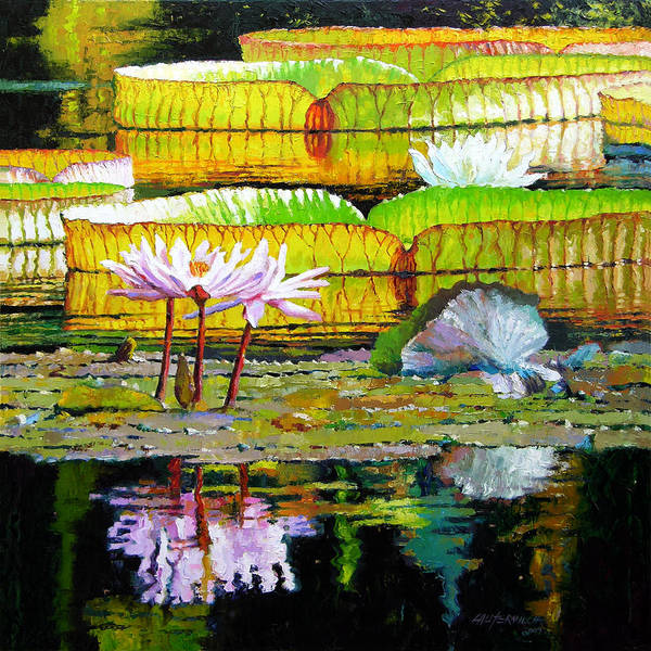 Water Lilies Art Print featuring the painting Passion for Color by John Lautermilch