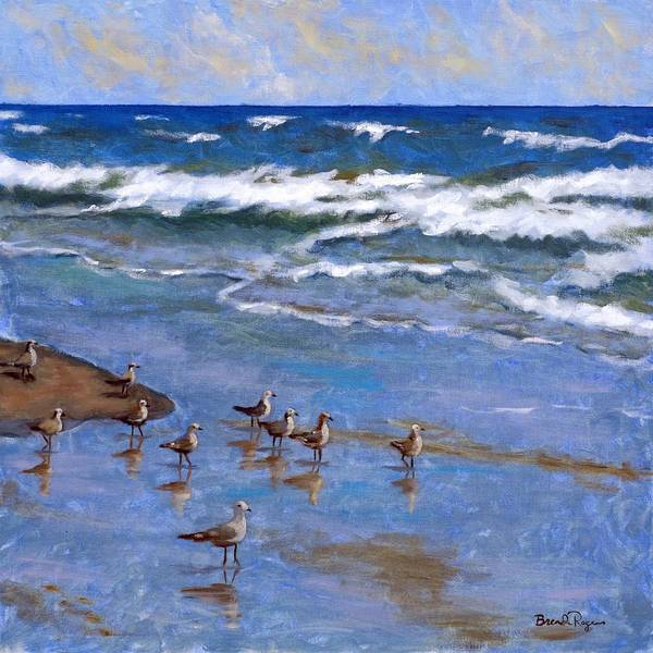 Plover Art Print featuring the painting Plover Dance by Brenda Williams