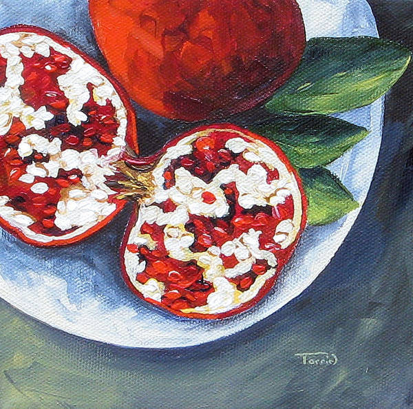Pomegranate Art Print featuring the painting Pomegranates on a Plate by Torrie Smiley