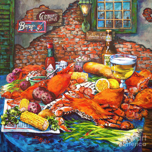 New Orleans Food Art Print featuring the painting Pontchartrain Crabs by Dianne Parks