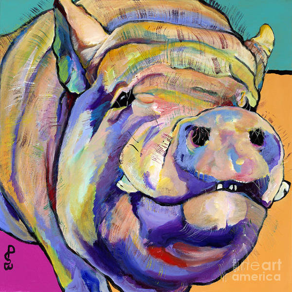 Pig Prints Art Print featuring the painting Potbelly by Pat Saunders-White
