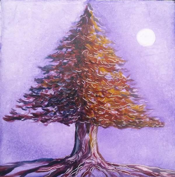 Purple Art Print featuring the painting Purple Pine by Karen Doyle