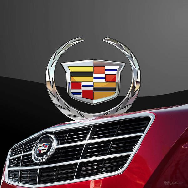 'auto Badges' By Serge Averbukh Art Print featuring the photograph Red Cadillac C T S - Front Grill Ornament and 3D Badge on Black by Serge Averbukh