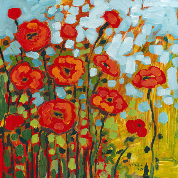 Poppy Art Print featuring the painting Red Poppy Field by Jennifer Lommers