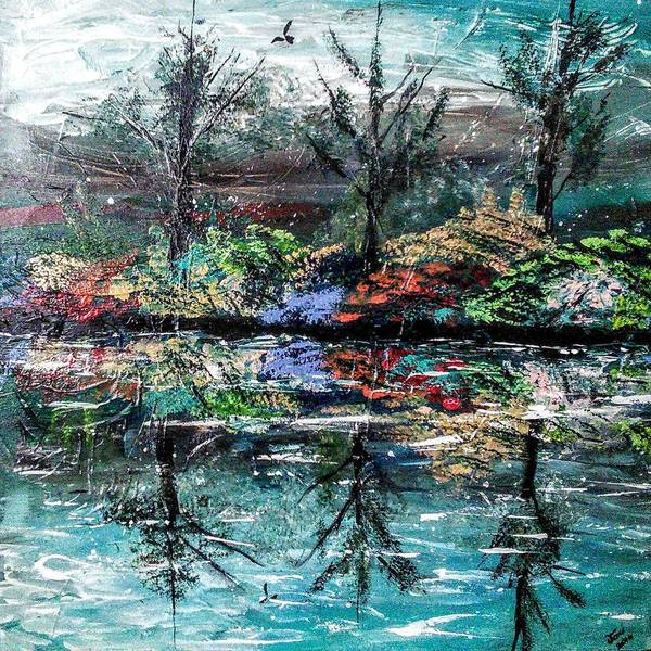 Woods Art Print featuring the painting Reflections by Valerie Josi