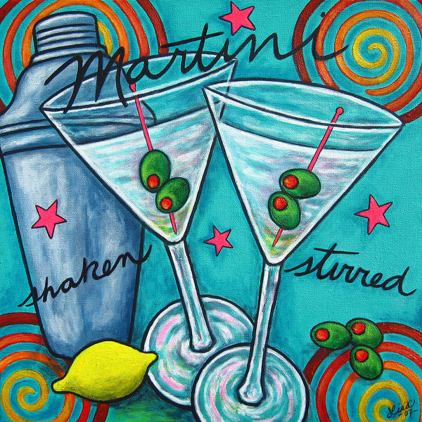 Alcohol Art Print featuring the painting Retro Martini by Lisa Lorenz