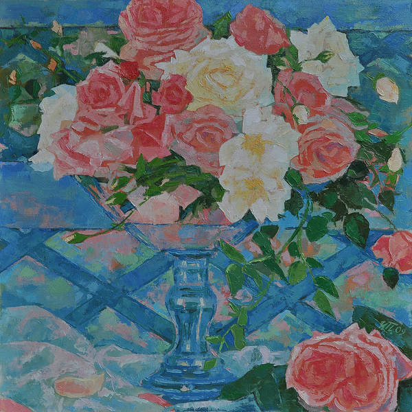 Roses Art Print featuring the painting Roses by Iliyan Bozhanov