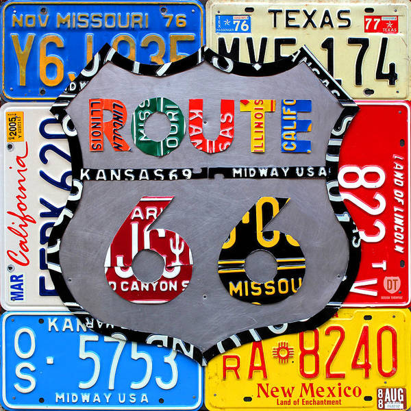 Route 66 Highway Road Sign License Plate Art Travel License Plate Map Art Print featuring the mixed media Route 66 Highway Road Sign License Plate Art by Design Turnpike