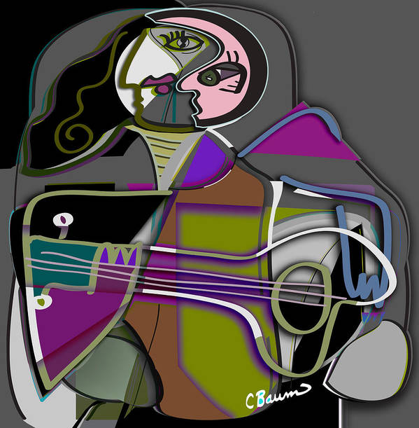 Guitar Music Art Print featuring the painting She Plays by C Baum