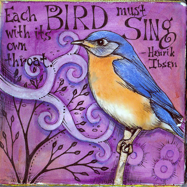 Bird Art Print featuring the mixed media Sing by Vickie Hallmark