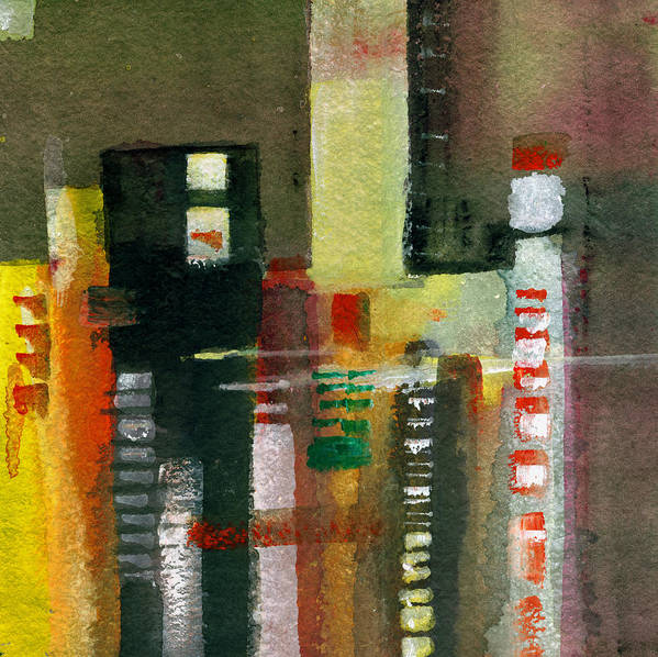 Townscape Art Print featuring the painting Skyscrapers by Anil Nene