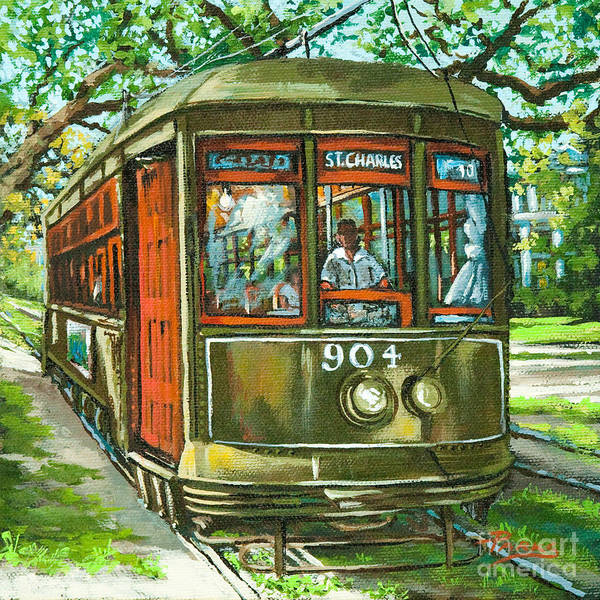 New Orleans Streetcar Art Print featuring the painting St. Charles No. 904 by Dianne Parks