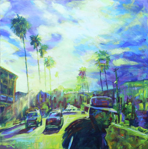 Blue Art Print featuring the painting Stanley and Sunset by Bonnie Lambert