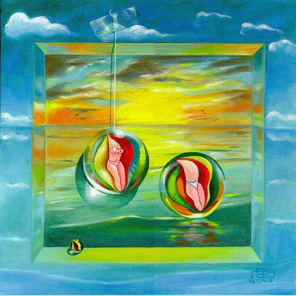 Surrealism Art Print featuring the painting Strollin Miami Beach at Sunset by Roger Calle