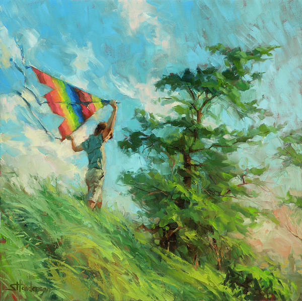 Boy Art Print featuring the painting Summer Breeze by Steve Henderson