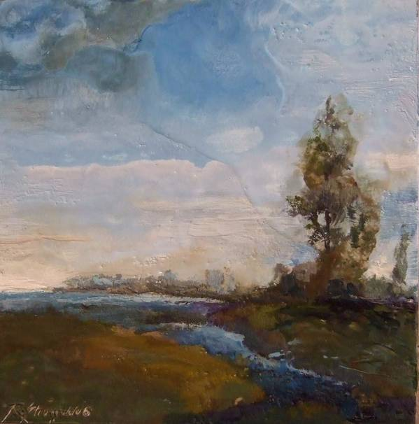 Stream Art Print featuring the painting Sunlit Stream by Ruth Stromswold