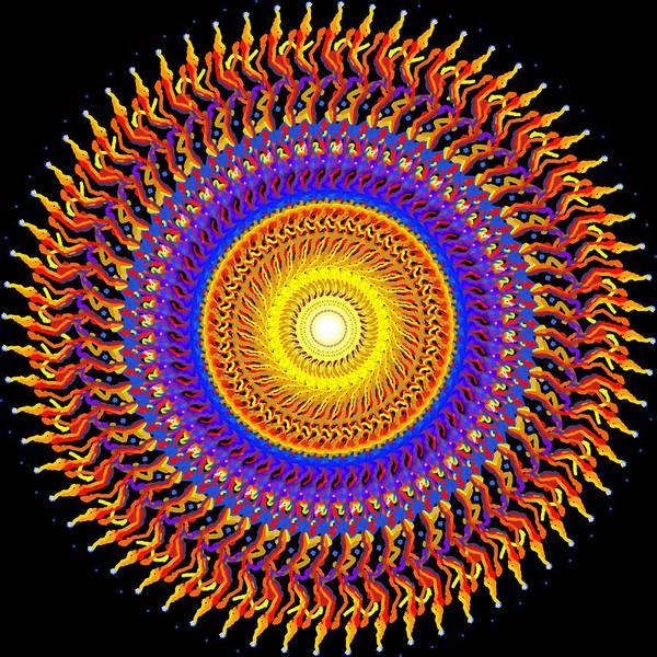Sunny Art Print featuring the painting Sunny Mandala by Peter Shor