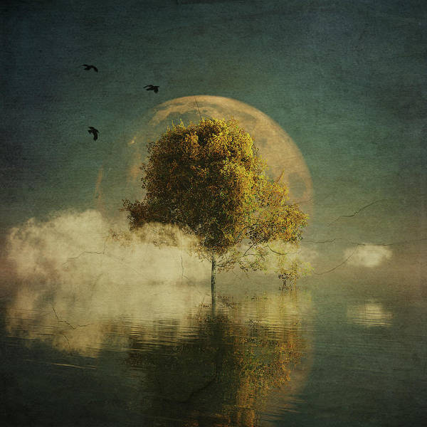 Birch Art Print featuring the painting Surrealistic landscape with yellow birch and full moon by Jan Keteleer